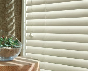 Everwood Faux Wood Blinds with a White Finish