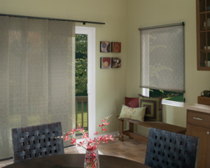 Sliding window panels for doors
