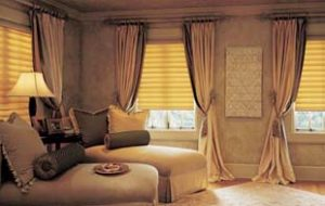 Custom Draperies over Vignette® Modern Roman Shade